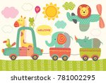 Stock vector train with baby jungle animals vector illustration eps 781002295