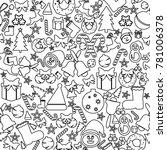 christmas seamless icons.... | Shutterstock .eps vector #781006378