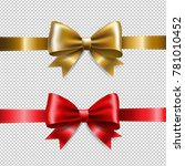 golden and red ribbon bows with ... | Shutterstock .eps vector #781010452