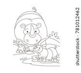 dangerous rhinoceros with baby... | Shutterstock .eps vector #781012462