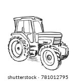sketch of tractor. hand drawn... | Shutterstock .eps vector #781012795