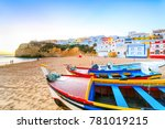 beautiful beach with boats in... | Shutterstock . vector #781019215