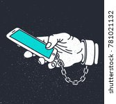 smartphone addiction hand... | Shutterstock .eps vector #781021132