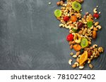 various dried fruits and mix...   Shutterstock . vector #781027402