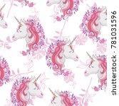 unicorn and rainbow seamless... | Shutterstock .eps vector #781031596