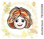 cute girls face  human head.... | Shutterstock . vector #781032088
