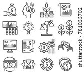 vector investment icon set in... | Shutterstock .eps vector #781033702