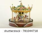 Old Toy Carousel On White...