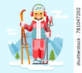 cute skier girl ski winter... | Shutterstock .eps vector #781047202