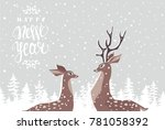 beautiful and cute cartoon two...   Shutterstock .eps vector #781058392