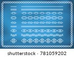 set of nautical rope seamless... | Shutterstock .eps vector #781059202