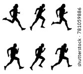 set men runner black silhouette ... | Shutterstock .eps vector #781059886