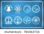 set of nautical and marine... | Shutterstock .eps vector #781063726