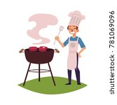 happy man in chef hat and apron ... | Shutterstock .eps vector #781069096