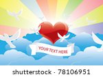 heart in clouds with flying... | Shutterstock .eps vector #78106951