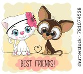 cute cartoon cat and dog on a... | Shutterstock .eps vector #781074538