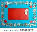 blank red card surrounded with... | Shutterstock . vector #781079722