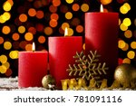 christmas candles with baubles... | Shutterstock . vector #781091116
