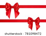 set of birthday red silk bows... | Shutterstock . vector #781098472