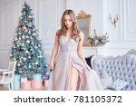 beautiful girl woman near... | Shutterstock . vector #781105372