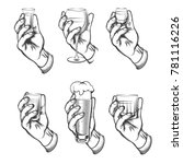 hand holding drink vintage.... | Shutterstock .eps vector #781116226