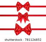 set of three xmas red satin... | Shutterstock . vector #781126852