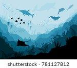 Underwater wildlife, Scat, shark, dolphins | Shutterstock vector #781127812