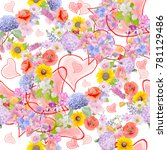 seamless  pattern with flowers... | Shutterstock . vector #781129486