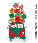 santa claus and deer drove to...   Shutterstock . vector #781131466