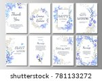 set of card with blue wild... | Shutterstock .eps vector #781133272