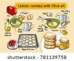 recipe for biscuits with olive... | Shutterstock .eps vector #781139758