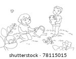 kids watering plant. black and... | Shutterstock . vector #78115015