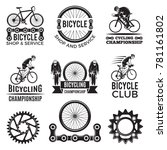 labels set for biking club.... | Shutterstock .eps vector #781161802