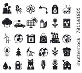 monochrome icons set of ecology.... | Shutterstock .eps vector #781161805