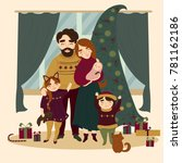 family at christmas. all... | Shutterstock . vector #781162186