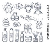 illustrations set for spa salon.... | Shutterstock .eps vector #781162315
