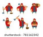 lumberjack in different poses... | Shutterstock .eps vector #781162342