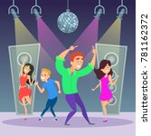 funny people dancing on dance... | Shutterstock .eps vector #781162372