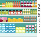 store shelves with groceries ... | Shutterstock .eps vector #781175062