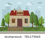 abandoned house. flat design.... | Shutterstock .eps vector #781175065