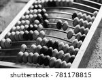 old abacus lay on stone table ... | Shutterstock . vector #781178815