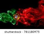 portugal flag smoke | Shutterstock . vector #781180975