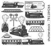 vintage monochrome locomotive... | Shutterstock .eps vector #781184266