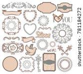 vintage romantic elements... | Shutterstock .eps vector #781184272