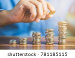 coins saving increase to profit ... | Shutterstock . vector #781185115