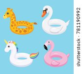 Flamingo, unicorn, swan and giraffe inflatable swimming pool floats. Vector illustration.
