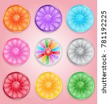 lemon round candy button glossy ...
