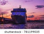 cruises ocean liner sailing in... | Shutterstock . vector #781199035