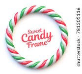 candy cane circle frame on...   Shutterstock .eps vector #781205116