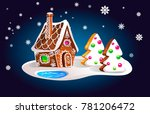 composition of gingerbread... | Shutterstock .eps vector #781206472